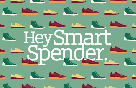 Illustratie van sneakers met de tekst 'Hey Smart Spender'